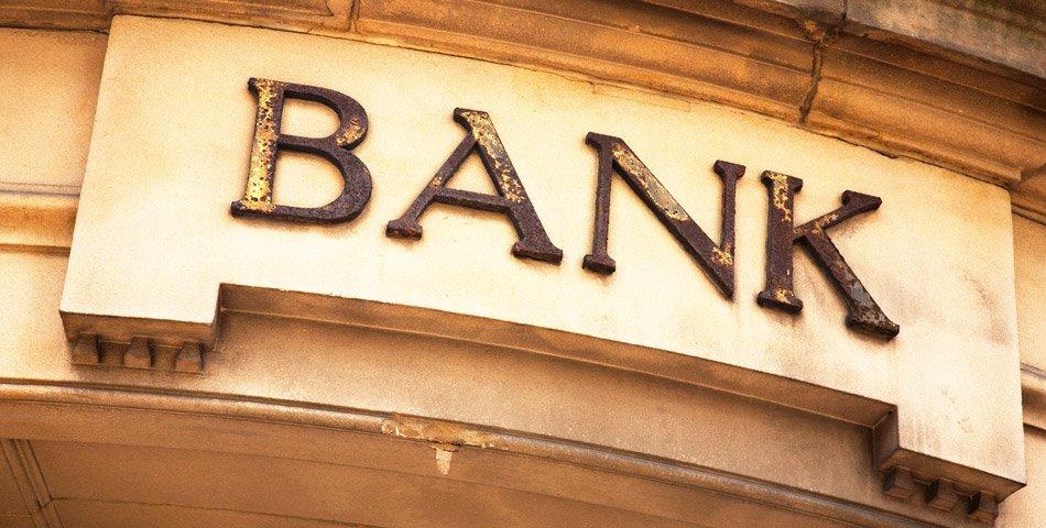 Bilde av fronten på en bank.